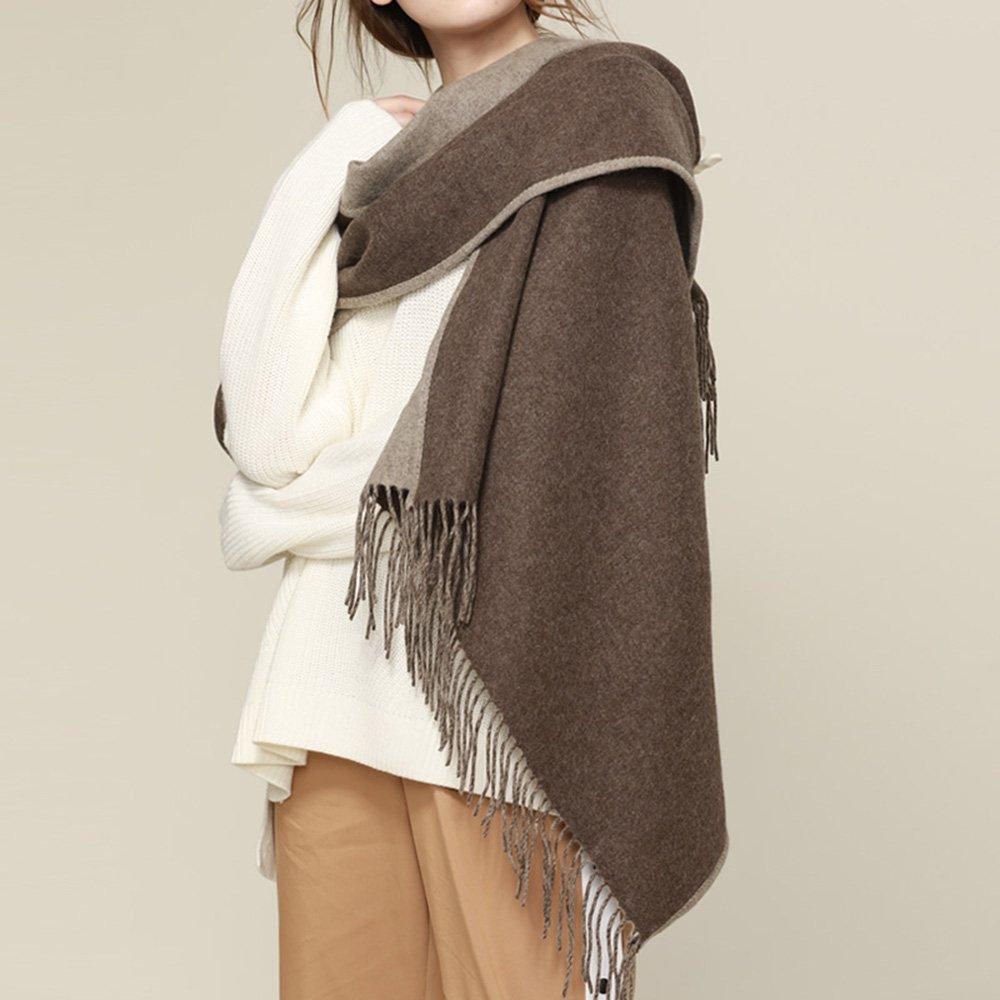 ZZHF écharpe écharpe châle double face haute-élastique écharpe de couleur  féminine automne et hiver écharpe double chaleur (5 couleurs en option) (70  ... e9216aec371