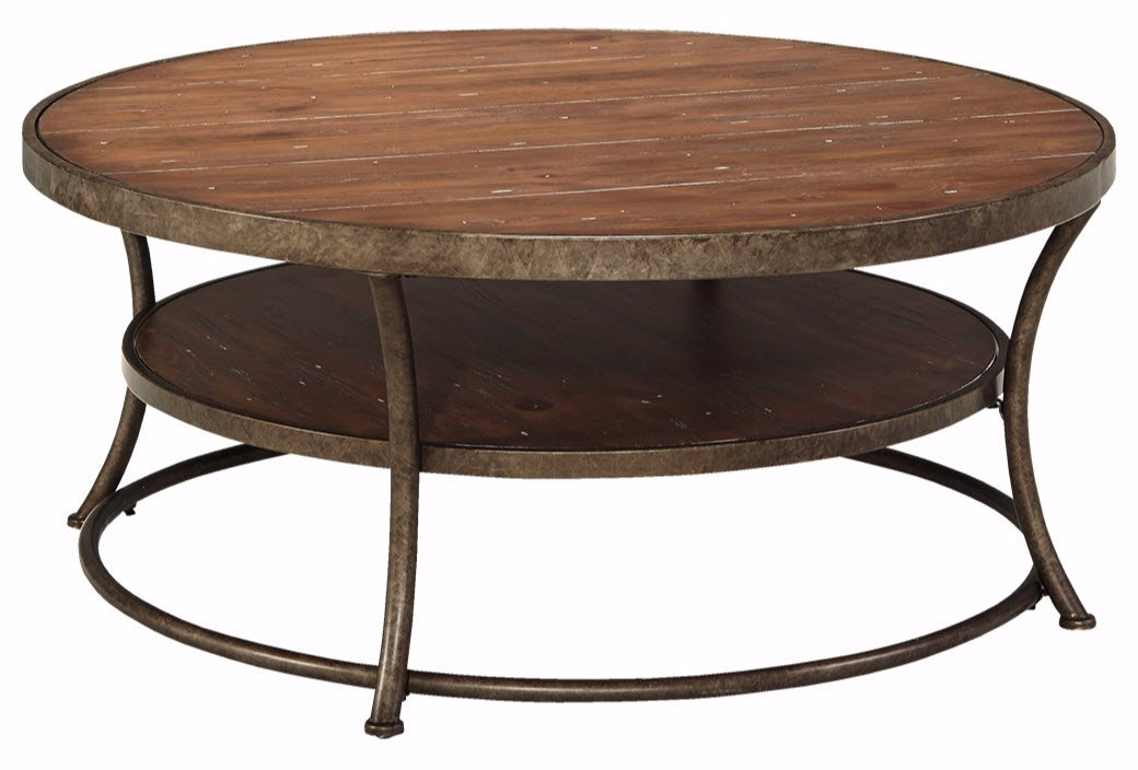 Ashley Furniture Signature Design - Vintage Casual Coffee Table - Cocktail Height - Round - Light Brown