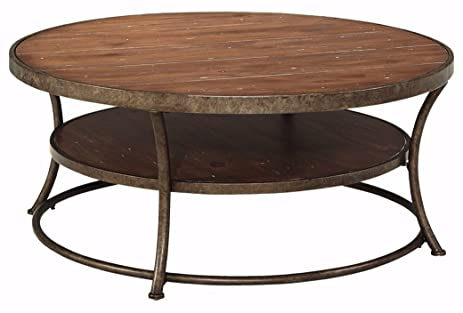 ashley furniture signature design vintage casual coffee table cocktail height round light