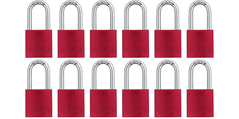 ABUS 72/40 Aluminum Safety Padlock Red Keyed Alike - Long Shackle (1-1/2'') - 12 Pack