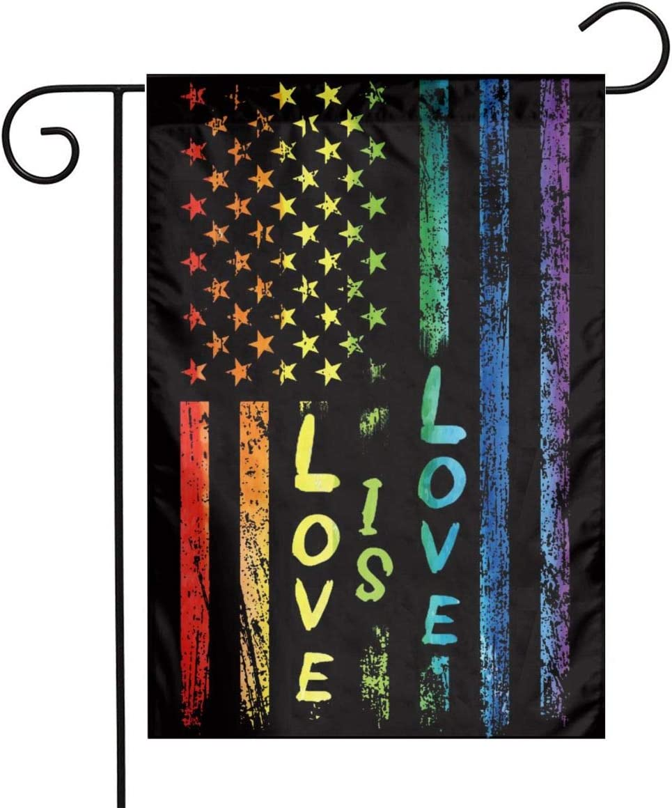Love is Love Rainbow Flags Gay Pride American Flag Outdoor LGBT Pride Flag Small Rainbow Pride Garden Flag 12x18 Double Sided for Patio Lawn Yard Home Decor