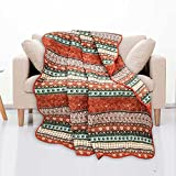 """Livilan Comfy Reversible Coral Quilted Throw Blanket 60""""x 50"""",100% Cotton Paisley Boho Striped Decorative Throws for Sofa Couch,Machine Washable and Durable (Coral)"""