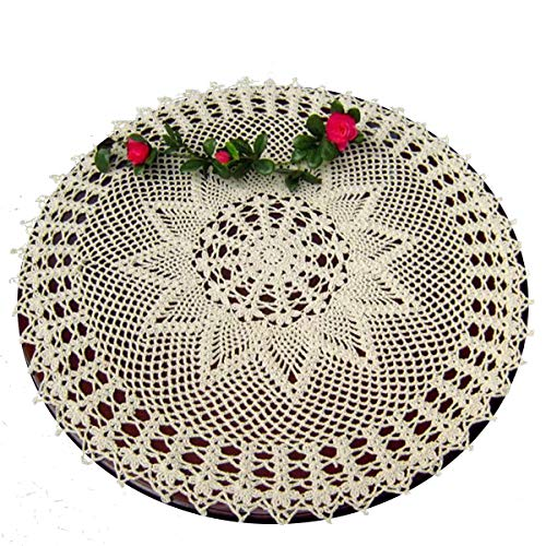 Laivigo New Handmade Crochet Lace Round Table Cloth Doilies Doily,24 Inch,Beige (Round Coffee Table Lace Cloth)