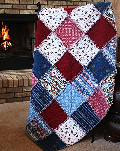 Easy Quilt Kit - Exclusive Après Ski Alpine Snuggler (Rag-Style) Flannel Quilt Kit - Good Beginner Quilt - Free US Shipping