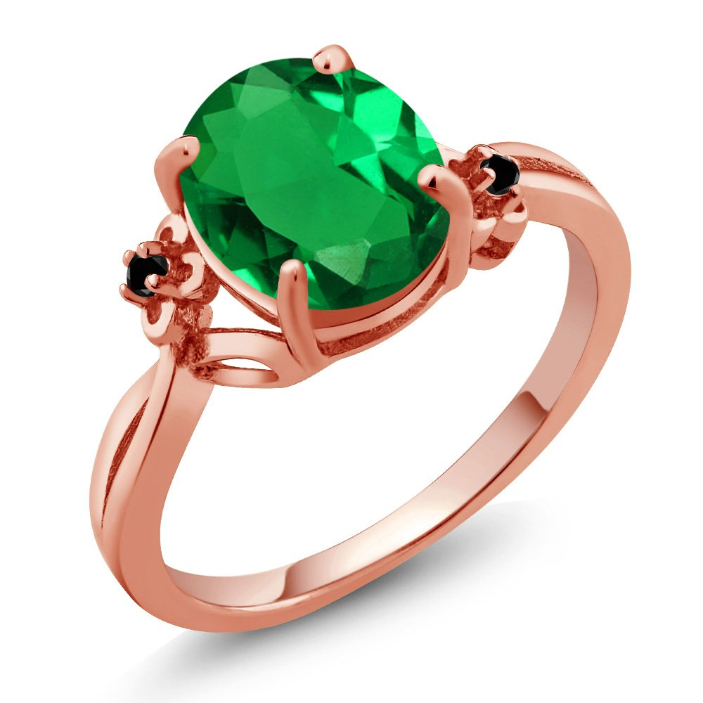 2.23 Ct Oval Green Simulated Emerald Black Diamond 14K Rose Gold Ring (Ring Size 9)