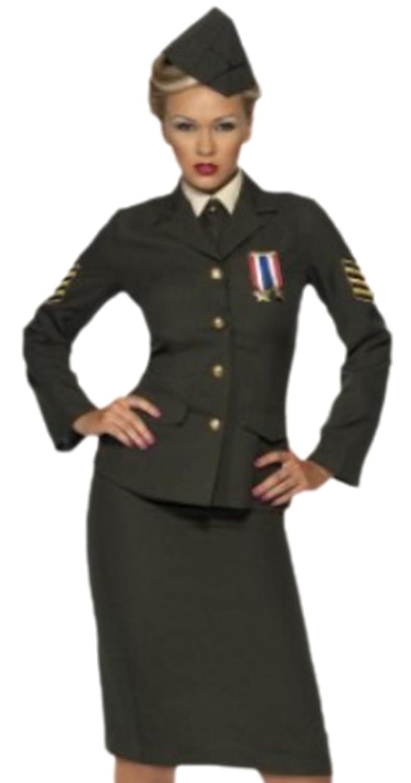 Fancy Ole - Erwachsene Karnevalskomplettkostüm Offizier Lady mit Hut Braun , M, Braun Hut 605970