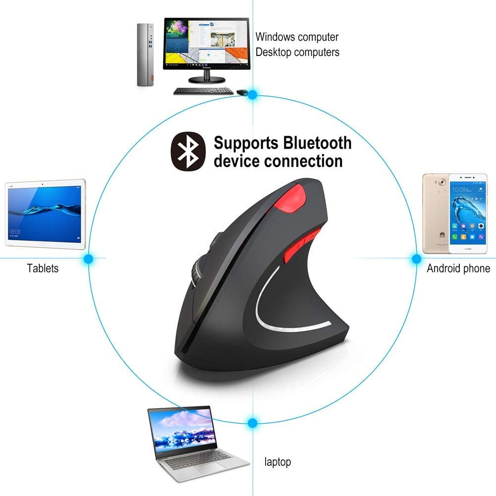 Vertical Mouse Wireless,Right Handed Bluetooth Wireless Ergonomic Vertical Mouse with 3 Adjustable DPI 800//1600//2400 6 Buttons,Compatible with PC Black