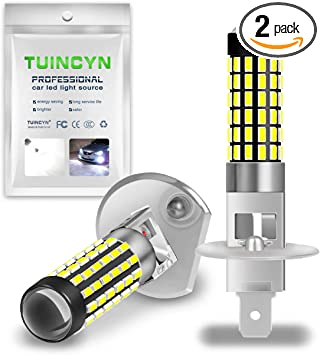 Pack of 2 TUINCYN H3 LED Fog Light Bulb 3014 78SMD Lens Super Bright 6500K 900 Lumens DRL Daytime Driving Lamp Car LED Light Bulb with Projector 4W Plug and Play Bulb DC 12V-24V White