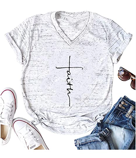 3eddae9a Qrupoad Womens Cross Faith Over Fear Summer V Neck T Shirts Short Sleeve Graphic  Tees at Amazon Women's Clothing store: