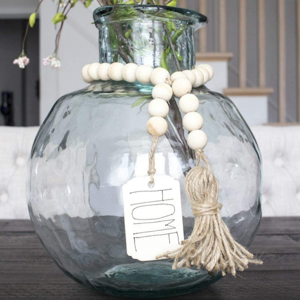 Wooden Beads Garland with Tassels and DIY Tag Hanging Decoration Farmhouse Rustic Country Beads Vintage Home Decor DIY Wooden Sign Pendant Home Ornament Wall Hanging Prayer Beads