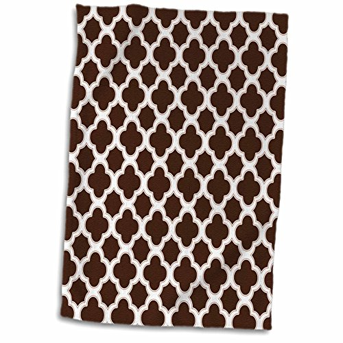 3dRose 3D Rose Quatrefoil Pattern Brown and White Towel, 15""