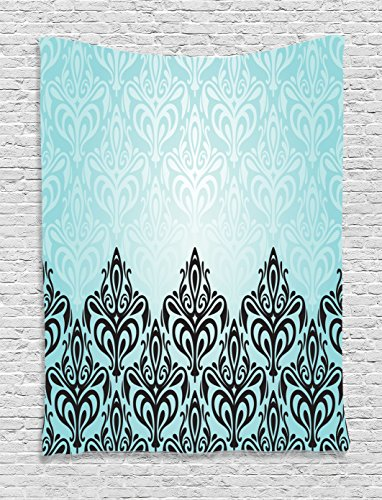 Tapestry Damask - Ambesonne Damask Tapestry, Modern Damask Motif with Symmetric Lines Artsy Royal Baby Color Bold Floral Pattern, Wall Hanging for Bedroom Living Room Dorm, 40 W X 60 L Inches, Blue Black