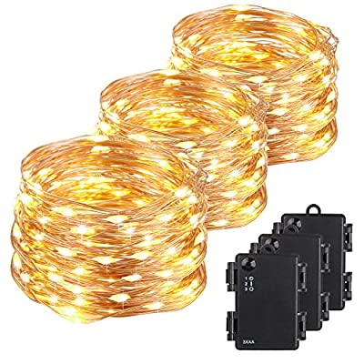 Kohree 120 Micro LEDs Fairy String Lights Battery Powered 40ft Long Ultra Thin String Copper Wire Lights with Remote Control and Timer