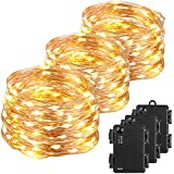 Kohree 100 Micro LEDs Christmas String Light Battery Powered on 33ft 3 Packs Long Ultra Thin String Copper Wire, Decor Rope Flexible Light with Timer and Battery Box Perfect for Weddings, Party, Xmas
