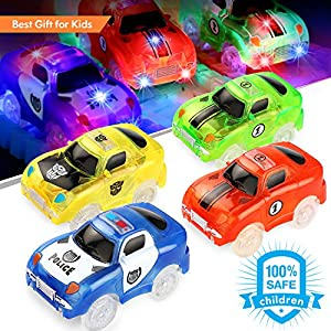 Track Car 4 Packs Light-Up Fast Speed Magic Tracks Cars Replacement Track Race Car Toy 5 LED Lights Racing Cars Track Accessories Compatible with Most Tracks Endless Fun for Boys & Girls by ROYI