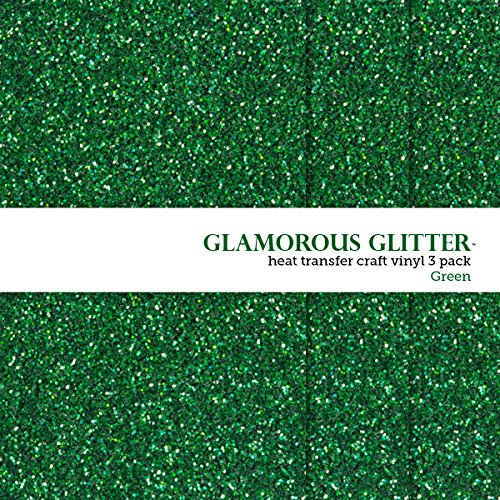Glamorous Glitter Heat-Transfer Vinyl Multi-Pack 3 Sheets Green 10