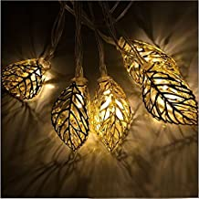 Xcellent Global 12 LED 12ft/ 3.7m Tree Leaf Solar String Lights Metal Ornament Lights for Garden, Wedding, Party, Outdoor and Christmas, Amber LD107