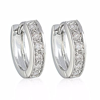 GULICX Round Hoop Huggie Earrings Clear Zircon White Gold Plated Lady Jewellery for Womens Girls - Diameter 18mm 98Mhz7X9
