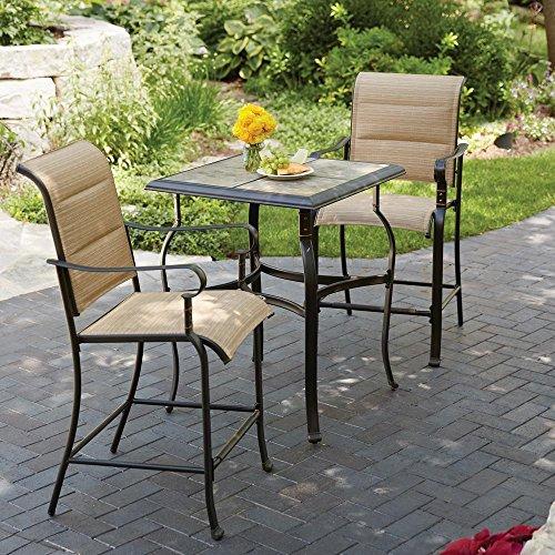 Hampton Bay Belleville 3-Piece Padded Sling Outdoor Bistro Set (Hampton Bay Outdoor Furniture Umbrella)