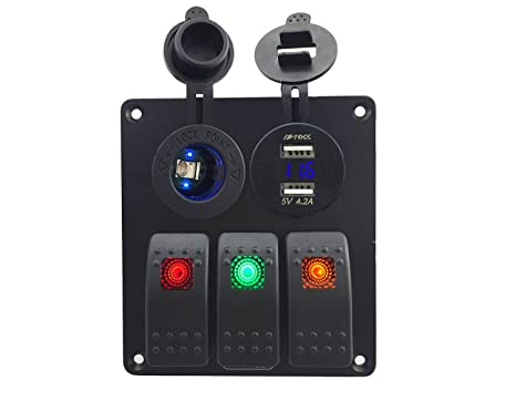 Amazon.com: Impermeable DC 12 V 3 Gang 3 Color Rocker Switch ...