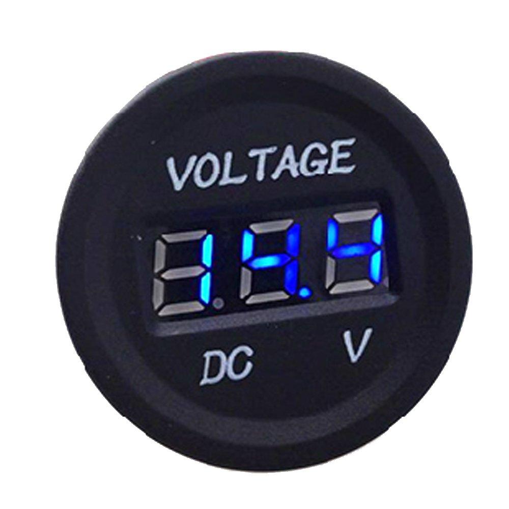 ESUPPORT DC 12V 24V Waterproof Car Motorcycle Green LED Light Digital Display Voltmeter Volt Monitor Gauge Meter