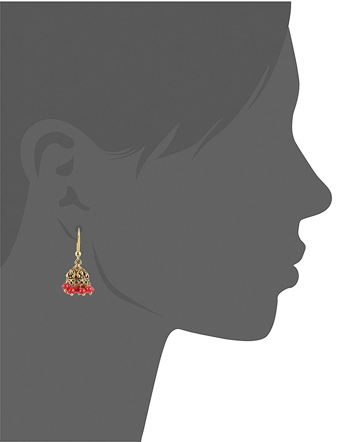 Subharpit Red Color Pearl Golden Color Metal Non Precious Indian Ethnic Tratitional Jhumki Jhumka