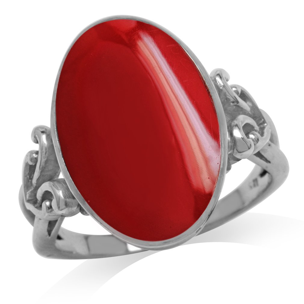Oval Shape Created Red Coral Inlay 925 Sterling Silver Victorian Style Heart Knot Ring Size 6