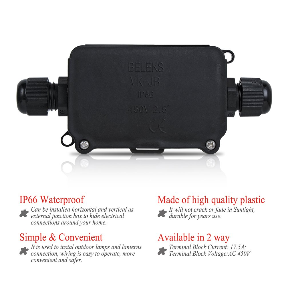 Noza Tec Waterproof Outdoor Junction Box Connector Underground 2 Way Cable Sleeve For 4 8 Mm Diameter Pg9 Pack Of Wiring Bq Garden Outdoors