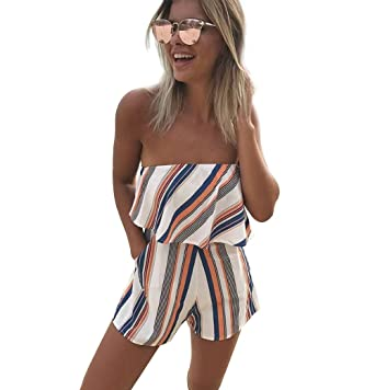 c81af1302f Amazon.com: CM-Light Women Off Shoulder Romper Strapless Floral Striped  Shorts Jumpsuit Beach Cover up: Clothing