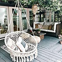 Hanging Chair Swing Basket Swing Chair Wicker Cotton Woven Basket Swing Chair Rocking Chair Indoor Hanging Chair-A 80x80cm(31x31inch)