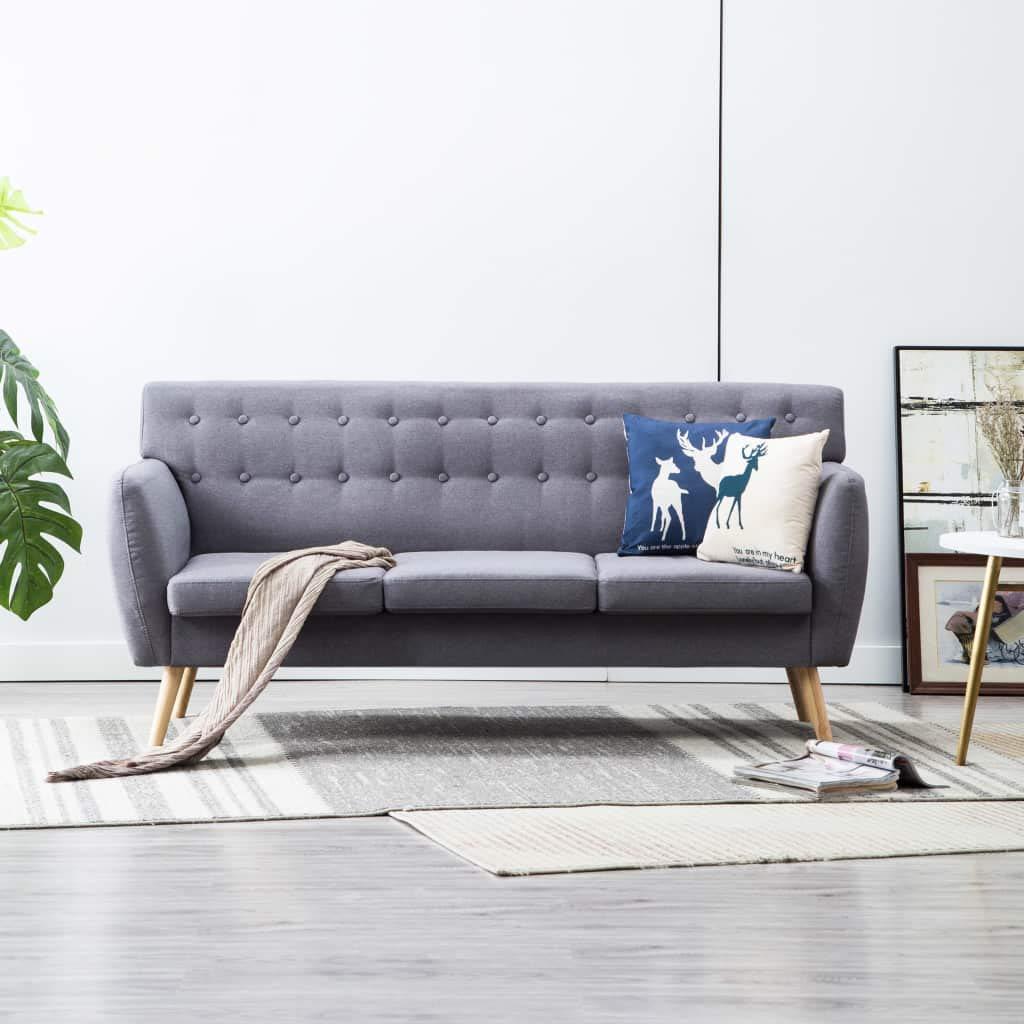 FESTNIGHT Sofá de 3 Plazas Sofas Salon Tapizado de Tela 172x70x82 cm Gris Claro