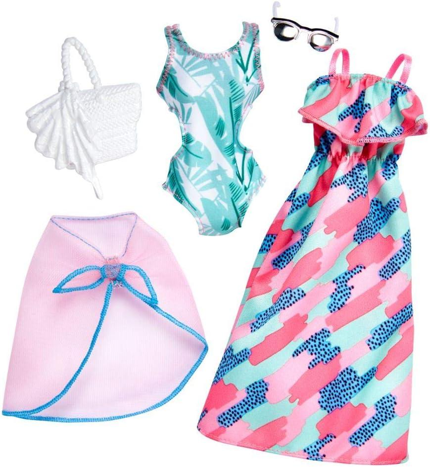 Mattel Beach Outfit 2 Mode Set V/êtements de Poup/ée Barbie FKT32