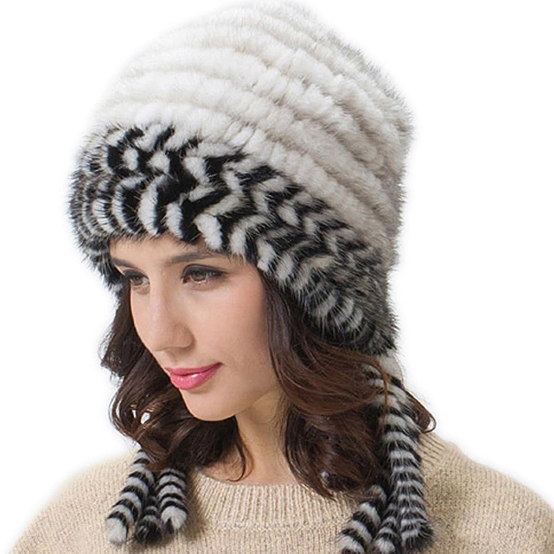 FURTALK Winter Damen aus Hochwertige Weich Warm Nerzpelz Material mit Schöne Streifen Stricken Design Pelzmütze Wintermütze Strickmütze