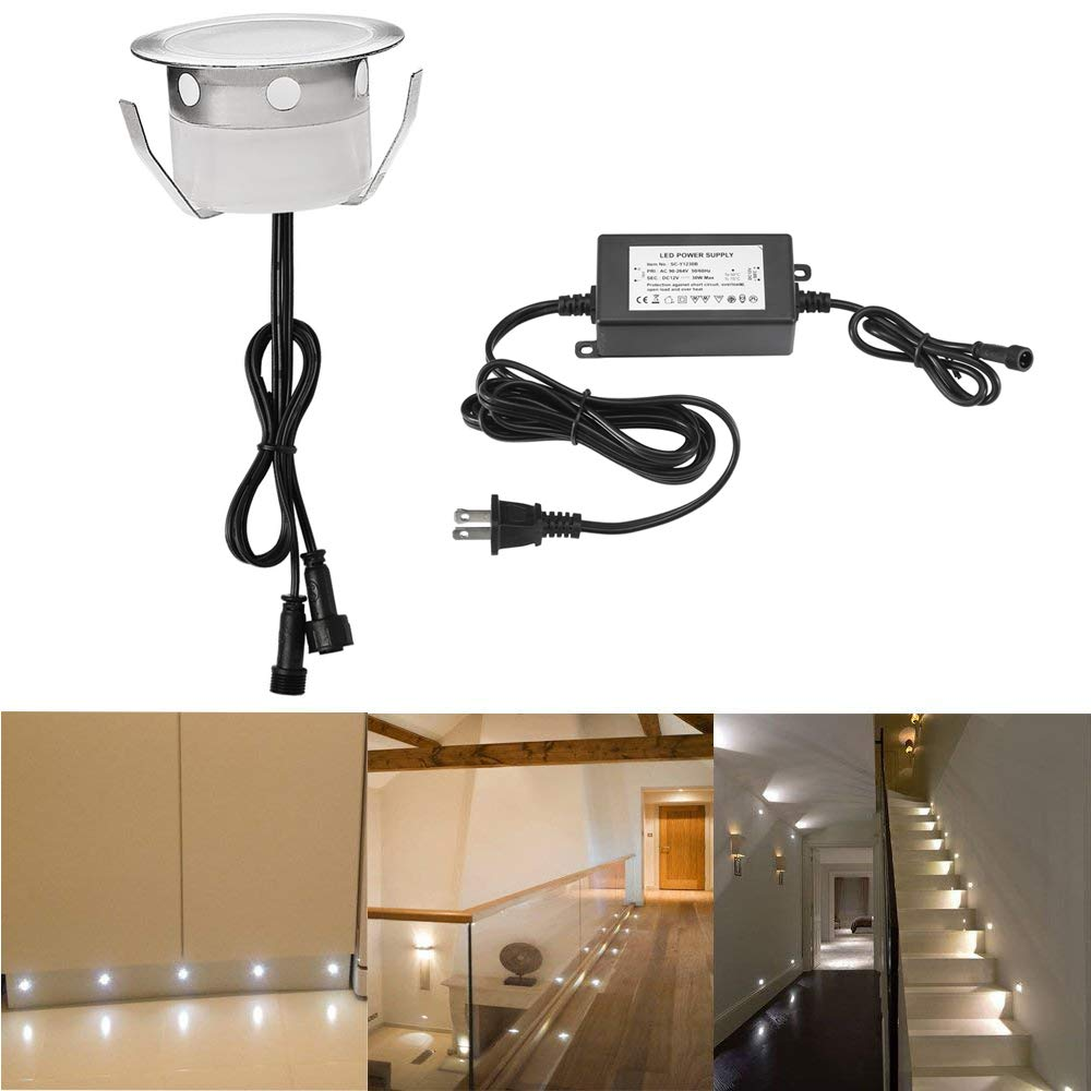 CHNXU Recessed LED Deck Lighting Kit 30pcs Outdoor Landscape Garden Patio IP67 Waterproof LED In-ground Lights Basement Stair Cabinet Stainless Steel Decor Lamp, Cold White
