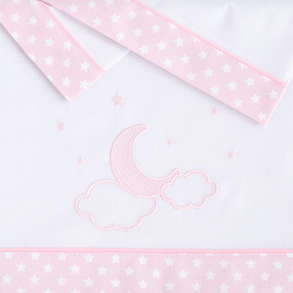 Juego Sábanas Franela minicuna Bebé de Pekebaby Moon rosa