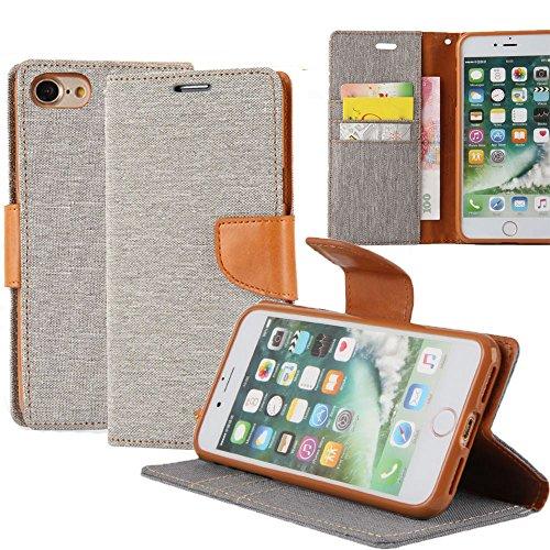 Funda iPhone 7 REXANG Teléfono móvil conjuntos de lona , Lona+ TPU , TPU Silicona Case Interna Suave,Soporte Plegable,Ranuras para Tarjetas y Billetera,Cierre Magnético (iPhone 7, Azul) Gris