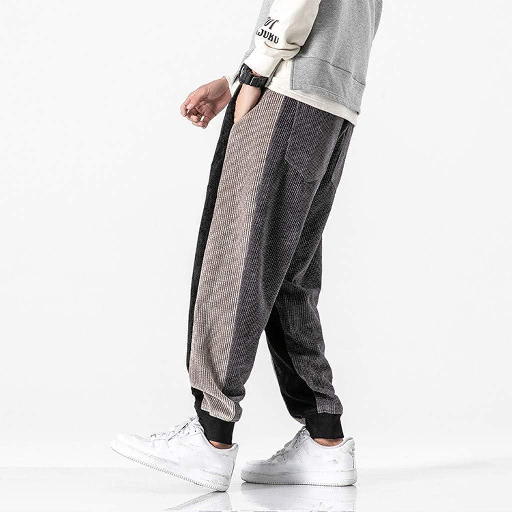Mens Winter Sweatpants Color Block Track Pants Warm Corduroy Active Running Jogger Pants for Men