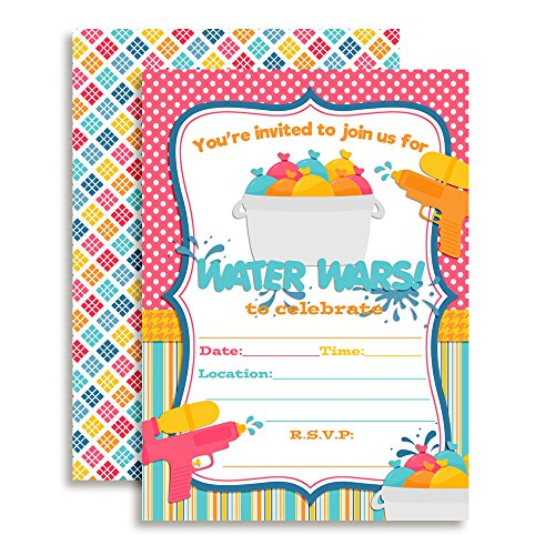 Water Wars Girls Birthday Party Fill in Invitations Set of 20 with envelopes by AmandaCreation ()