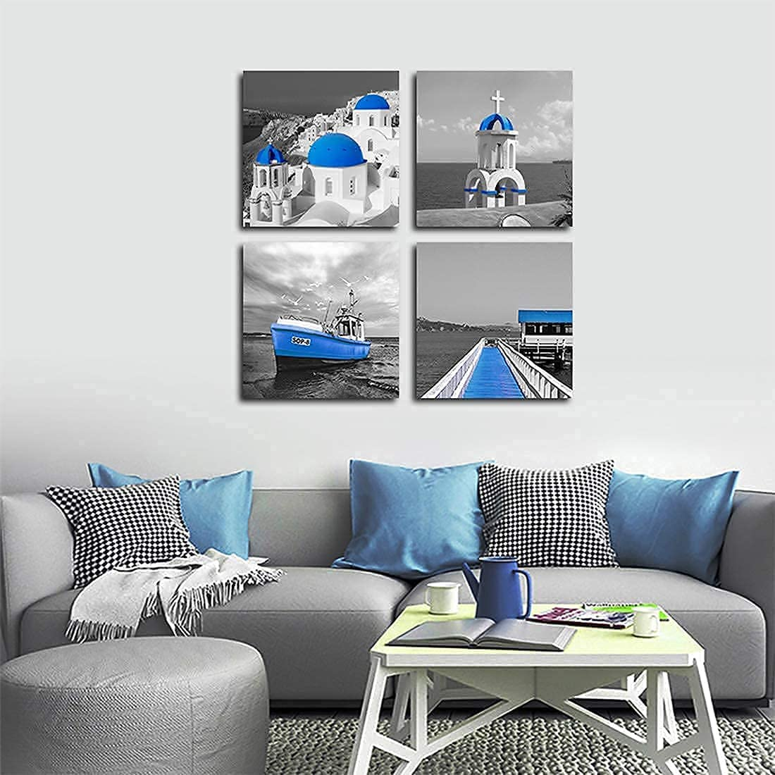 Modern Black and White Wall Art Greece Santorini Beach Ocean Mediterranean River Boat Picture Aegean Sea Wall Decor Landscape Building Canvas Prints for Home Office Bathroom Set of 4 12 x12 In Frame