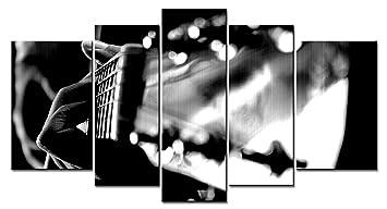 LIS HOME Serie de música 5 Piezas de Arte en la Pared Imágenes de guitarristas y