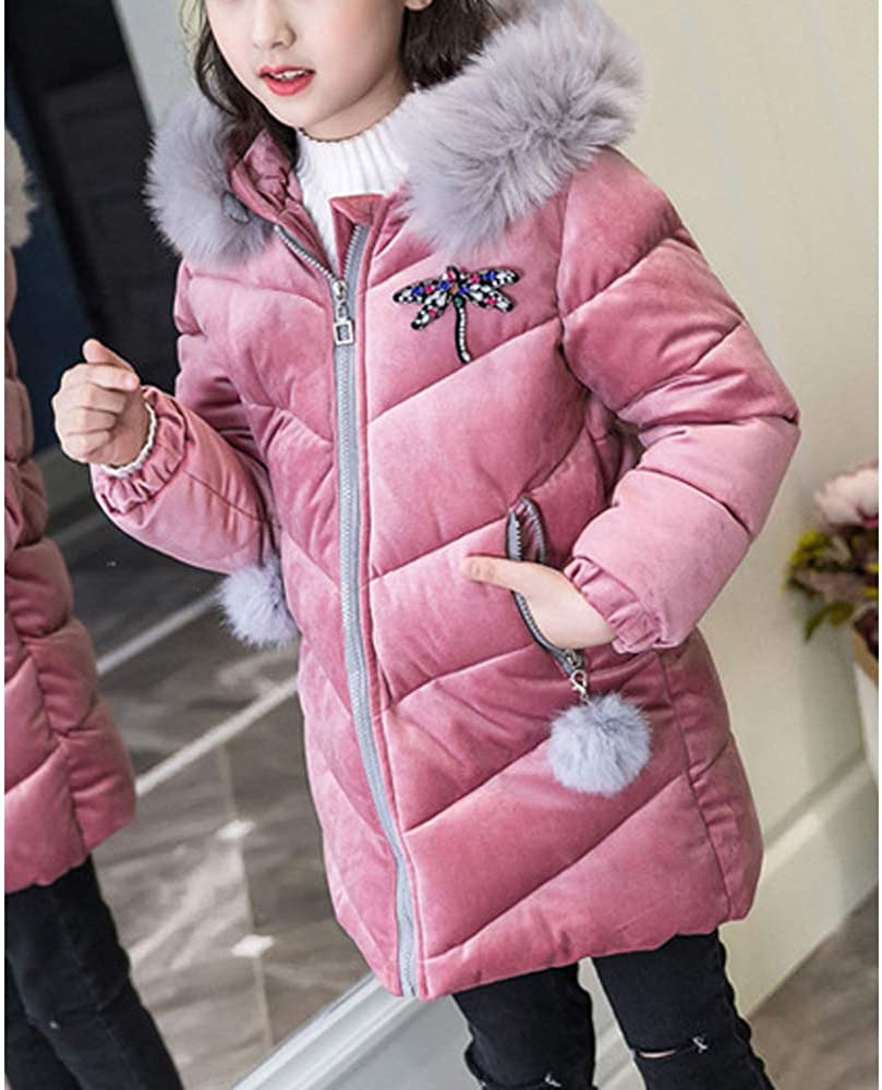Phorecys Girls Parka Coat Quilted Padded Cotton School Jacket with Faux Fur Hooded