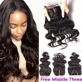 Helene Hair Brazilian Virgin Hair Human Hair Body Wave Top Lace Closure (4″4″) Part 8-20 Inch Naturl Black Bleached Knots (12 Inch)
