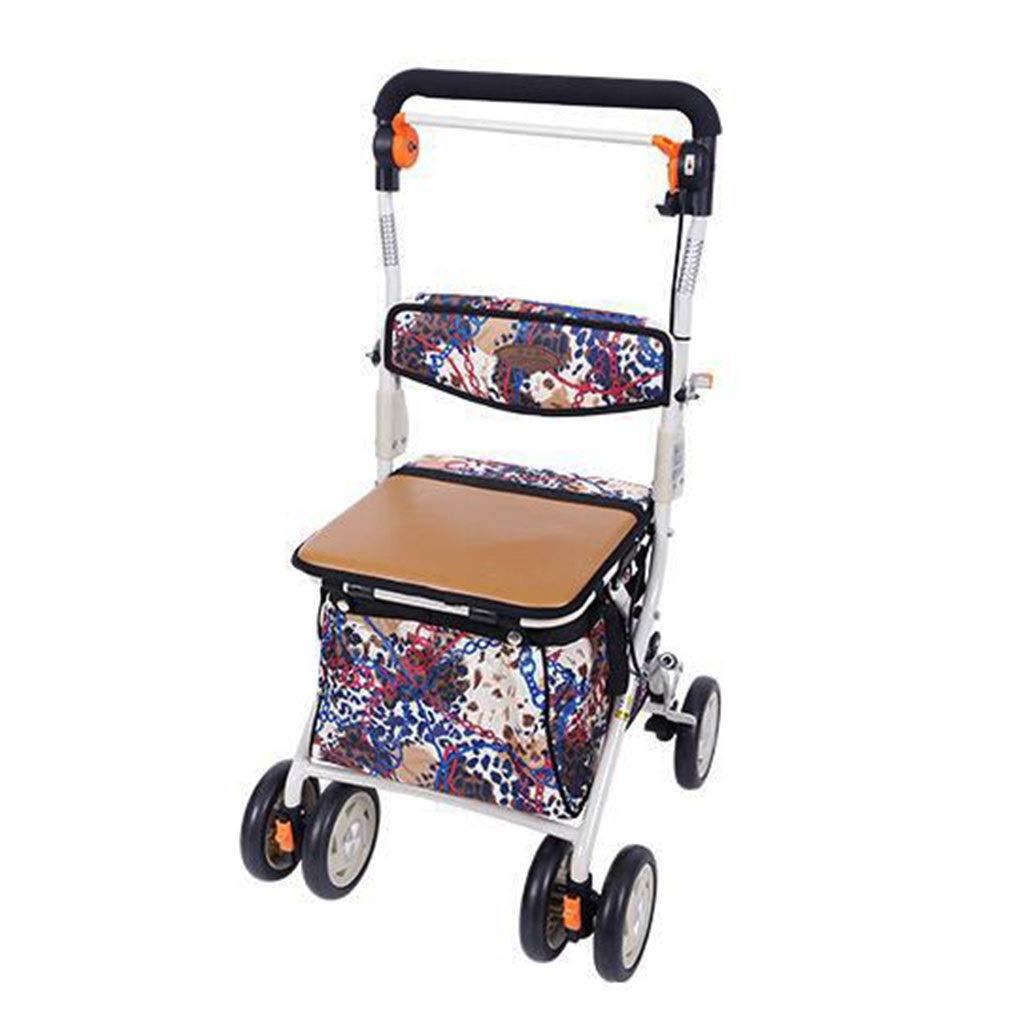 ショッピングキャリー ショッピングカートホームトロリー折りたたみ車椅子の持ち込み可能高齢者用四輪歩行器携帯用ショッピングカートスクーターギフト用100kgまで耐えることができます (Color : Brown, Size : 50*47*90cm) B07PXB32Q6 Brown 50*47*90cm