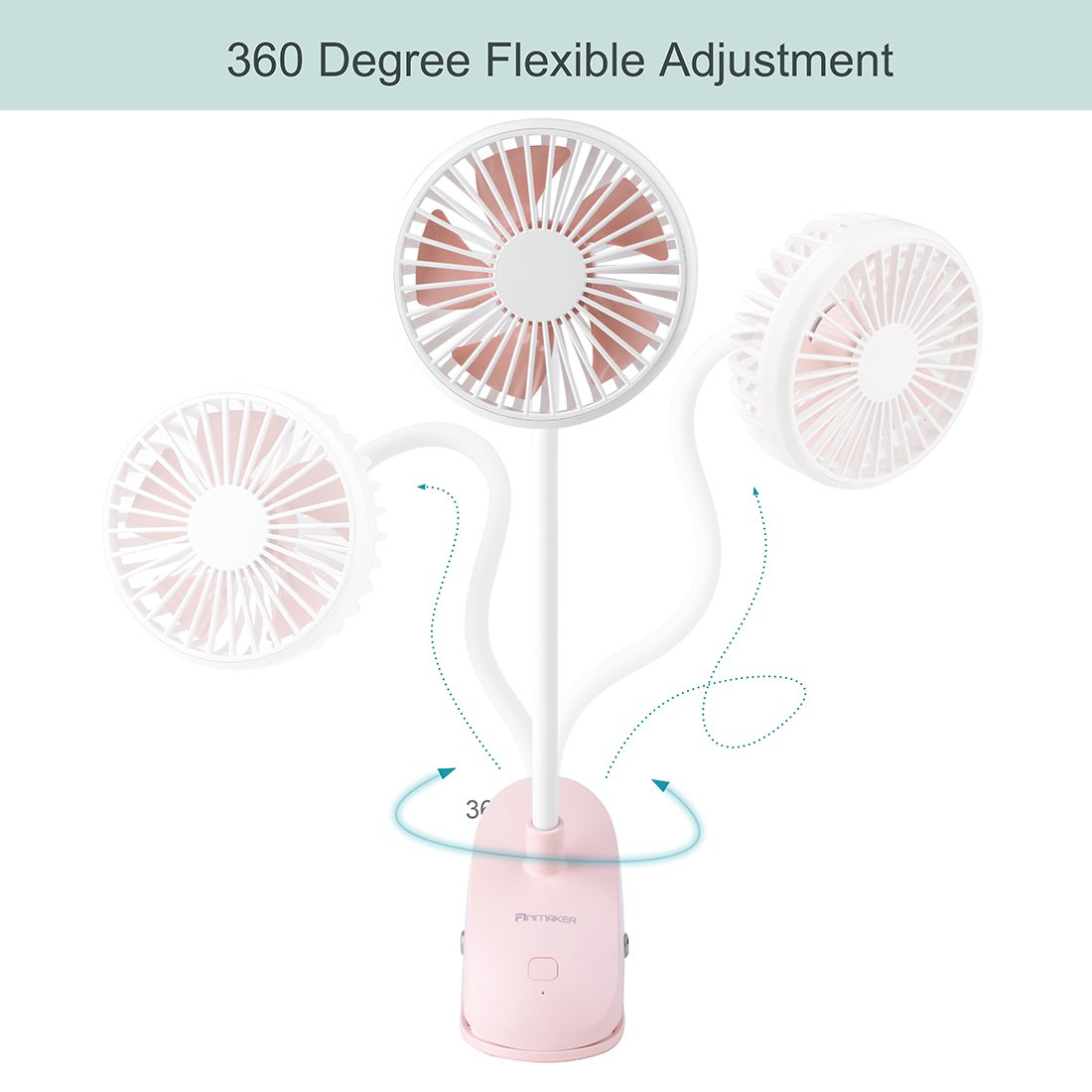 Anmaker Mini Baby Stroller Fan Clip on, 2000mAh Flexible Bent Portable Desk Personal Clip Cooling Fan Electric Pink with USB Charging Battery Operated 3 Speed for Baby,Office, Camping, Bedside, Beach by Anmaker (Image #3)