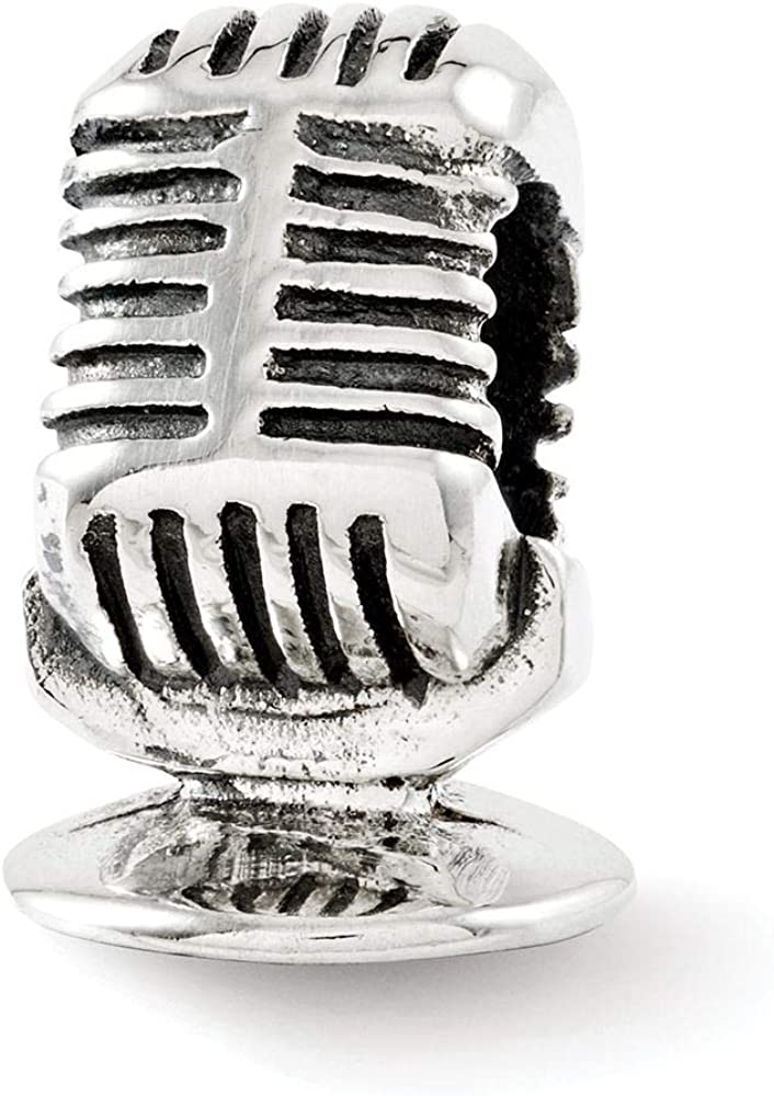 Sterling Silver Reflection Microphone Solid Bead