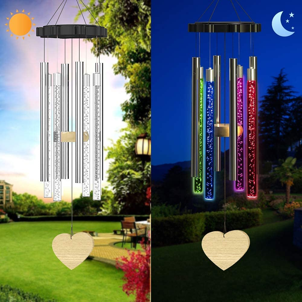Solar Wind Chimes Changing Colors Waterproof, Personalized Sympathy Wind Chime for Outside Décor, Solar Light Memorial Windchimes for Loss of Loved One, Gift for Backyard Garden Patio Yard Home Decor