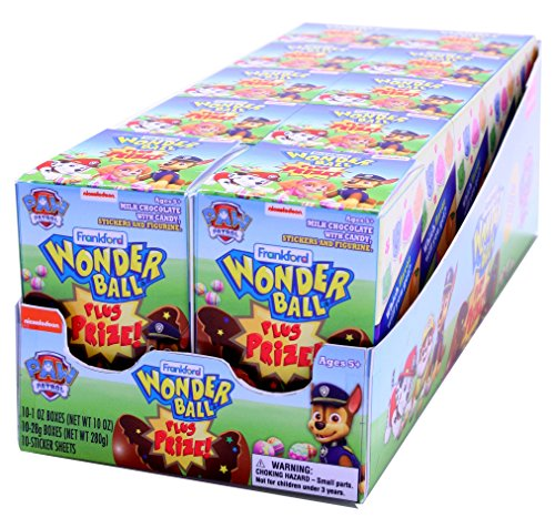 Frankford Candy Company Paw Patrol Wonder Ball Plus Prize Easter, Milk Chocolate, 1.0 Ounce, pack of 10 - Paws Milk Chocolate