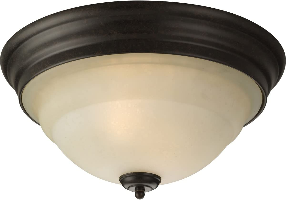 Progress Lighting P3184-77 2-Light Close-To-Ceiling with A Tea Stained Bell-Shaped Glass Bowl, Forged Bronze