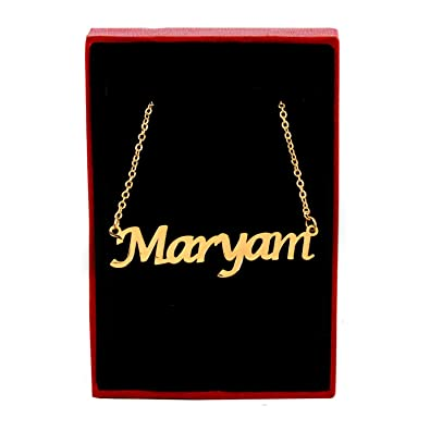 Amazon com: Zacria Maryam Name Necklace - 18ct Gold Plated: Jewelry
