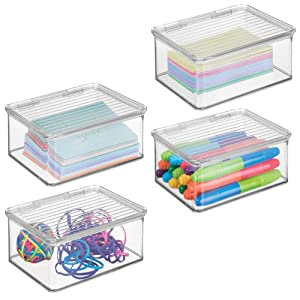 mDesign Small Mini Plastic Stackable Home, Office Supplies Storage Organizer Box with Attached Hinged Lid - Holder Bin for Note Pads, Gel Pens, Staples, Dry Erase Markers, Tape - 4 Pack - Clear